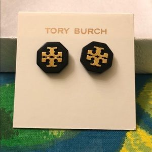 Tory Burch large black and gold logo earrings
